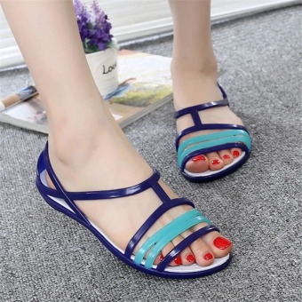 LCFU764 Women's Crystal jelly shoes leisure beach sandals(blue) -intl Price Philippines