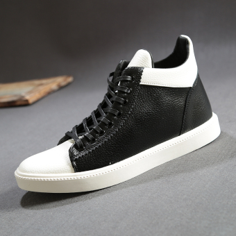 Leather autumn New style men's shoes men's shoes (White black)