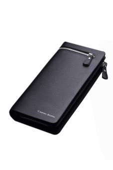 Leather Bifold Wallet Purse (Black)