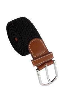 Leather Braided Elastic Stretch Metal Buckle Belt (Black)
