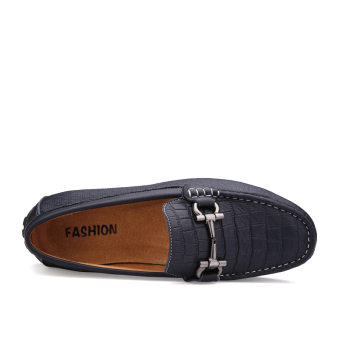 Leather Casual Car Loafers - Blue