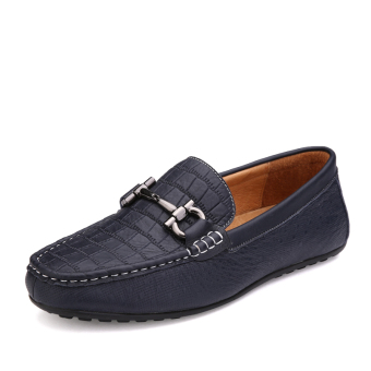 Leather Casual Car Loafers - Blue - picture 2