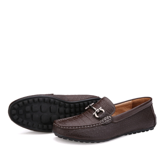 Leather Casual Car Loafers (Dark Brown)