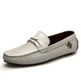 Leather Casual Driving Loafers - Beige