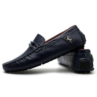 Leather Casual Driving Loafers - Blue - picture 4