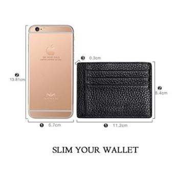 Leather Credit Card Holder Unisex Slim Business Card Case SuperThin Soft Minimalist Wallet With Cash Clip (Black) - Intl - 2