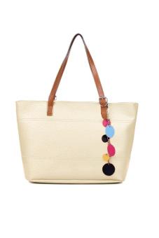 Leather Cute Shoulder Tote Bag Handbag (White)