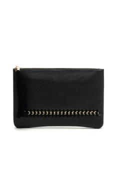 Leather Evening Party Satchel Handbag (Black)