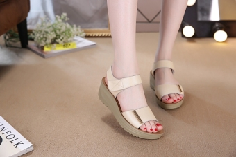 Leather female New style muffin mom shoes sandals (Beige)
