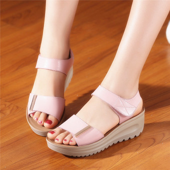 Leather female New style muffin mom shoes sandals (Pink)
