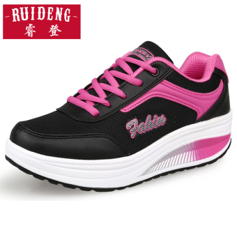 Leather female thick bottomed elevator I casual shoes rocking shoes (Dual Network 8391 black/rose)