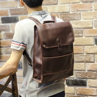 Leather Laptop Bags Student Leisure Men's Backpack Travel Bag MenBack Pack Sports Bag (Coffee) - intl(...)