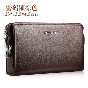 Leather large capacity men clutch bag men's handbag (Leather large brown)