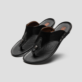 Leather men sandals flip-flops (Black)