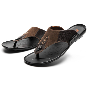 Leather men sandals flip-flops (PARK'S color)