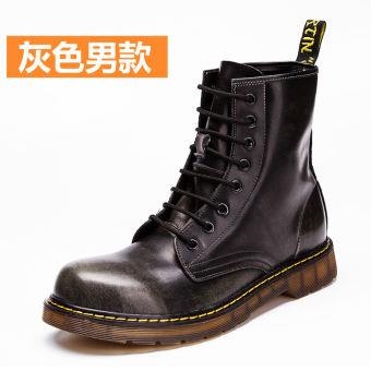Leather men warm boots Dr. Martens (Gray male models)