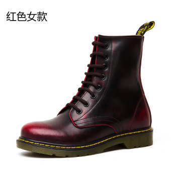 Leather men warm boots Dr. Martens (Red women's)