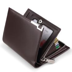 Leather short zipper bank card holder clip purse card holder (PARK'S color)
