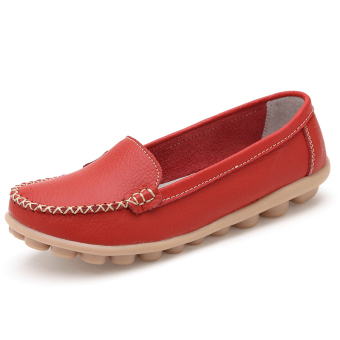 Leather summer flat hollow nurse shoes (Wine red (Four Seasons shoes))