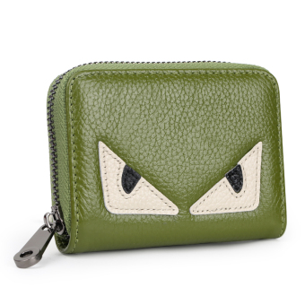 Leather women's credit card sets organ card holder (Green small monster [first layer of leather])