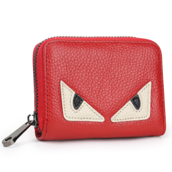 Leather women's credit card sets organ card holder (Red small monster [first layer of leather])