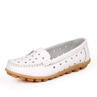 Leather Work nurse shoes moccosins (White (summer punching))