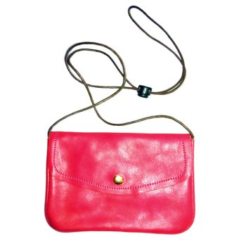 Leatherette Pouch with Sling Strap (Magenta)