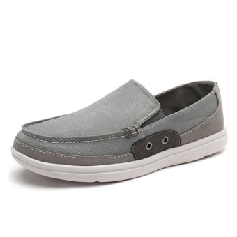 Lechgo Men Fshion Canvas Casual Shoes Big Plus Size Slip-On Light Soft (Grey) NYY078 - intl