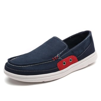 Lechgo Men Fshion Canvas Casual Shoes Big Plus Size Slip-On LightSoft (Blue) NYY078 - intl