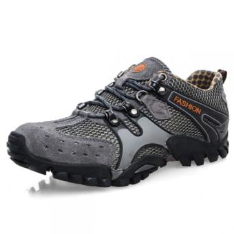Lechgo Men's Breathable Hiking Shoes 1288-Grey - Intl