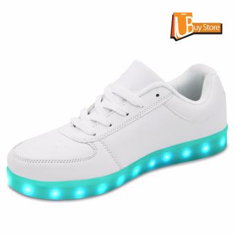 LED Light Lace Up Luminous Shoes Sportswear Sneaker Luminous Unisex Casual Shoes grey - intl - 2