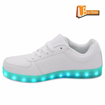 LED Light Lace Up Luminous Shoes Sportswear Sneaker Luminous Unisex Casual Shoes grey - intl - 4