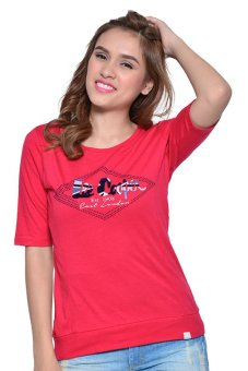 Lee Cooper Round Neck T-shirt 3/4 Sleeves (Red)