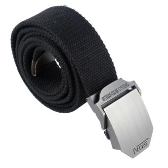 leegoal Men Extra Long Military Style Canvas Web Belt With SliderBuckle,Black - intl