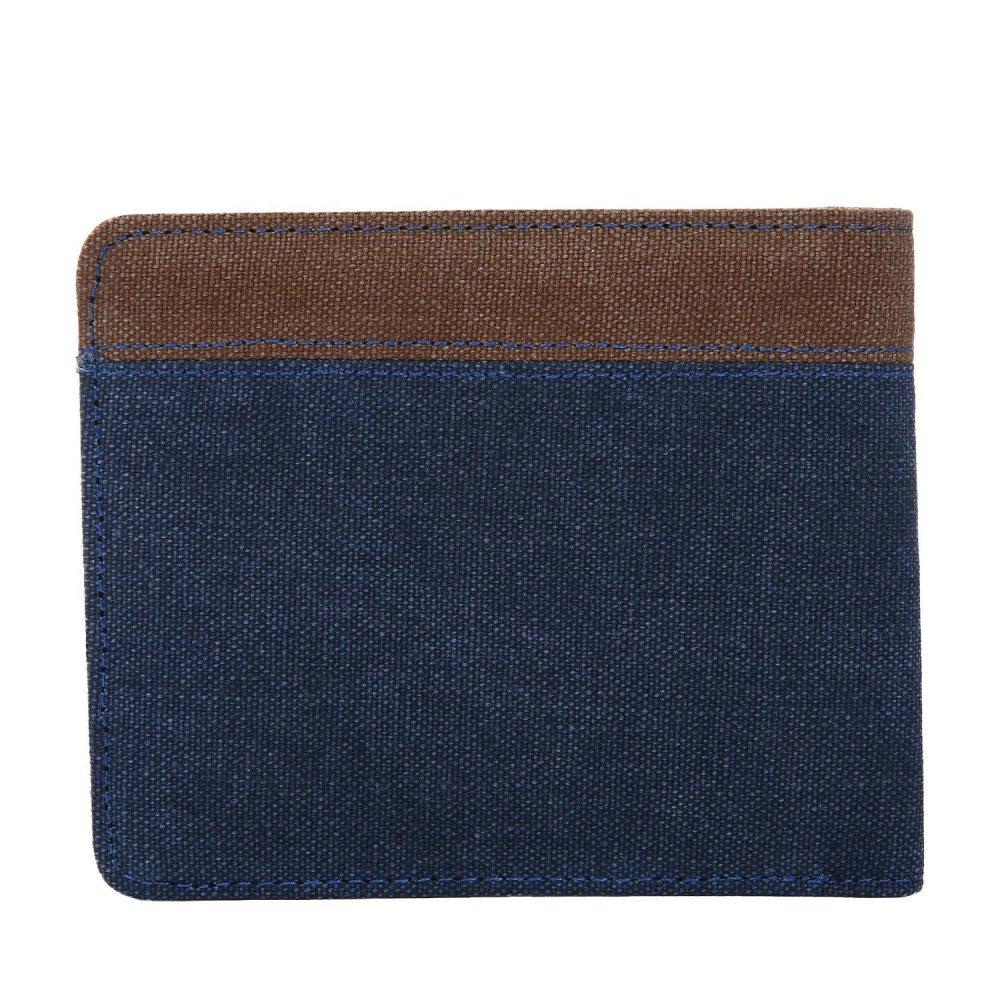 ... leegoal Men s Canvas Wallet Bifold Card Holder Billfold With ID Window Blue Coffee