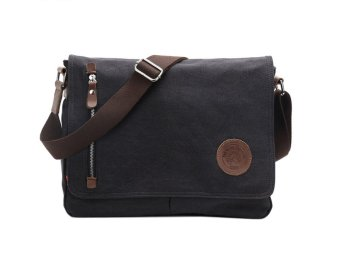Leegoal Men's Vintage Canvas Schoolbag Shoulder Messenger Bag, Black - intl