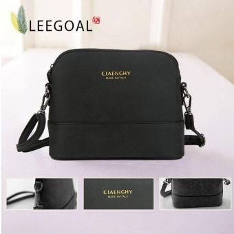 Leegoal Women Vintage Frosted PU Leather Messenger Bag, Black -intl