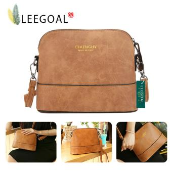 Leegoal Women Vintage Frosted PU Leather Messenger Bag, Light Brown- intl
