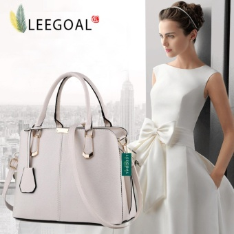 leegoal Womens Boutique PU Leather Shoulder Bags Top-Handle HandbagTote Purse Bag Creamy White - intl Price Philippines