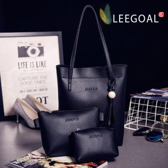 leegoal Women's PU Leather Handbag+Shoulder Bag+Tote Purse 3pcs SetBlack - intl