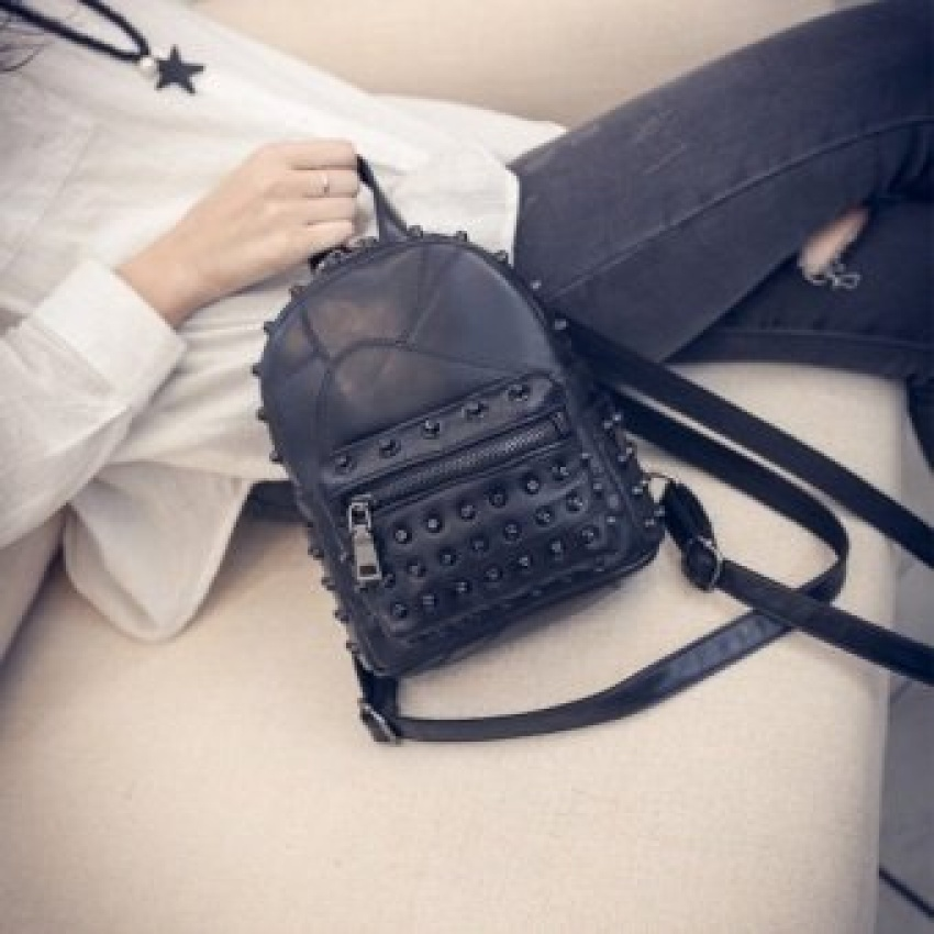 7f932c0057 ... LEFTSIDE New Style Rivets Black Mini Backpacks for women s Lady s Back  packs PU Leather Bags Fashion ...