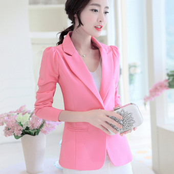 LEIKENISI Women's Korean-style Long Sleeve Blazer (Pink)