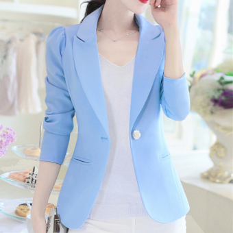 LEIKENISI Women's Korean-style Long Sleeve Blazer (Sky Blue)