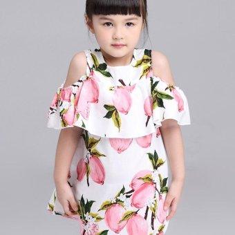 Lemon Print Off The Shoulder Fashion Dress For Girls Clothes (Pink) - intl - 3