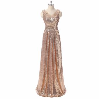 Leondo dazzling evening dress long rose gold party dress v neck sleeveless - intl