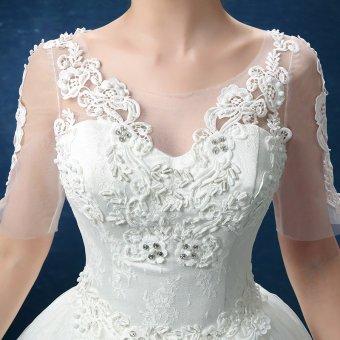 Leondo floor length wedding dress v neck half sleeves (ivory) soft net skirt bridal gowns - 5