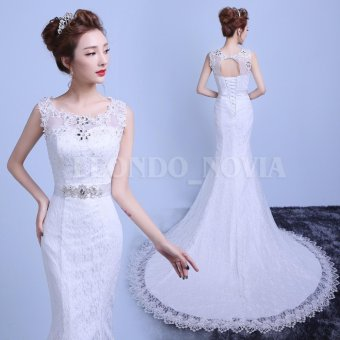 Leondo Ivory Mermaid Lace Bridal Gown Short Train Wedding Dress With Belt Hand Made Beading - intl