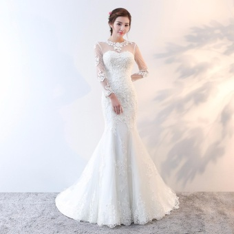 Leondo Lace Wedding Dress Long Sleeve Backless Mermaid Bridal Gown Women's Wear - intl