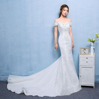 Leondo mermaid bridal dress long lace train wedding gowns (ivory) - intl