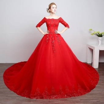 Leondo off the shoulder bridal dress half sleeves flower lace long train wedding gowns (red) - intl